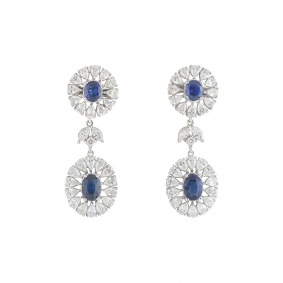 White Gold Diamond and Sapphire Earrings